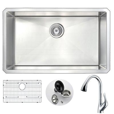 VANGUARD Undermount Stainless Steel 30 in. Single Bowl Kitchen Sink and Faucet Set with Accent Faucet in Brushed Satin