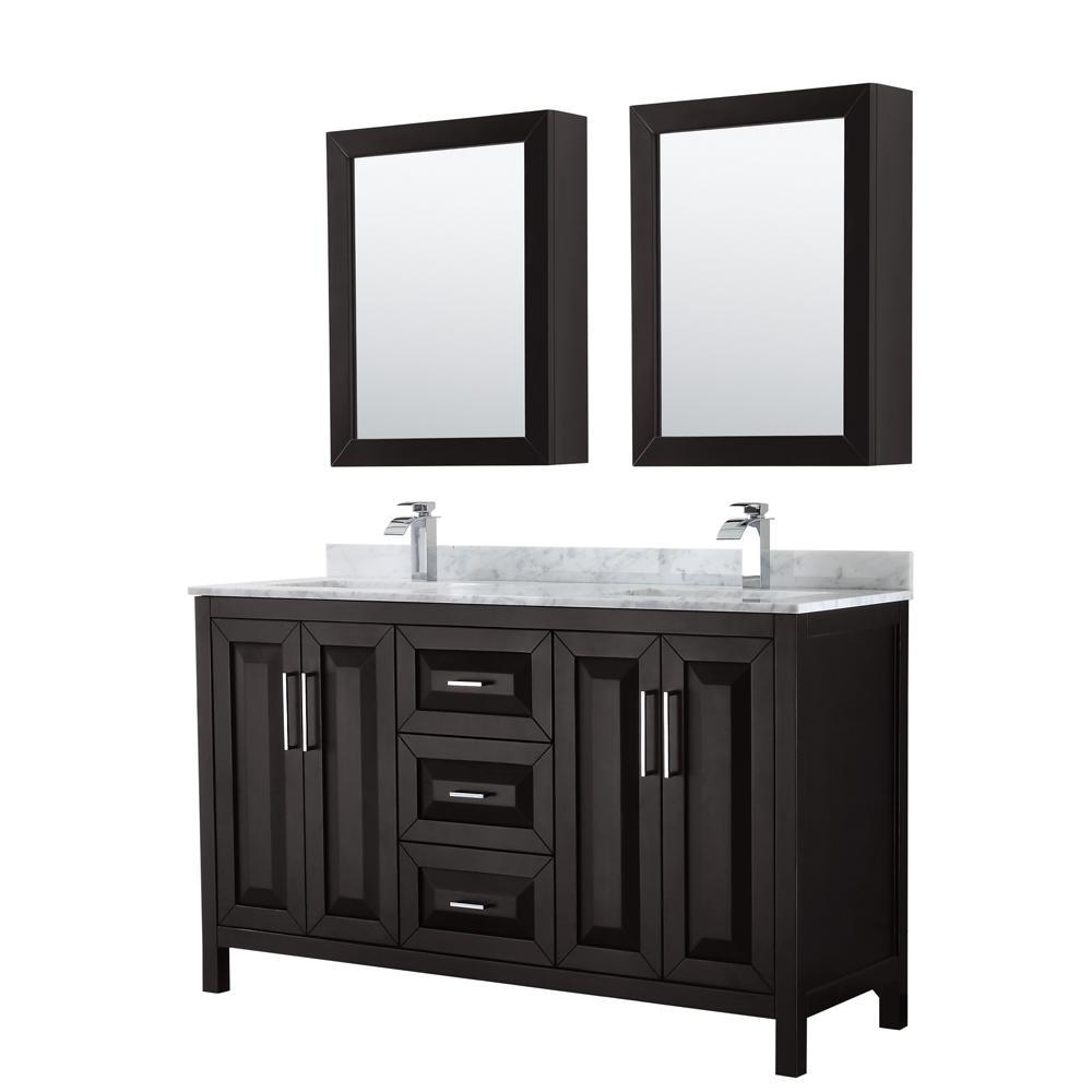Wyndham Collection Daria 60 In Double Bathroom Vanity In Dark