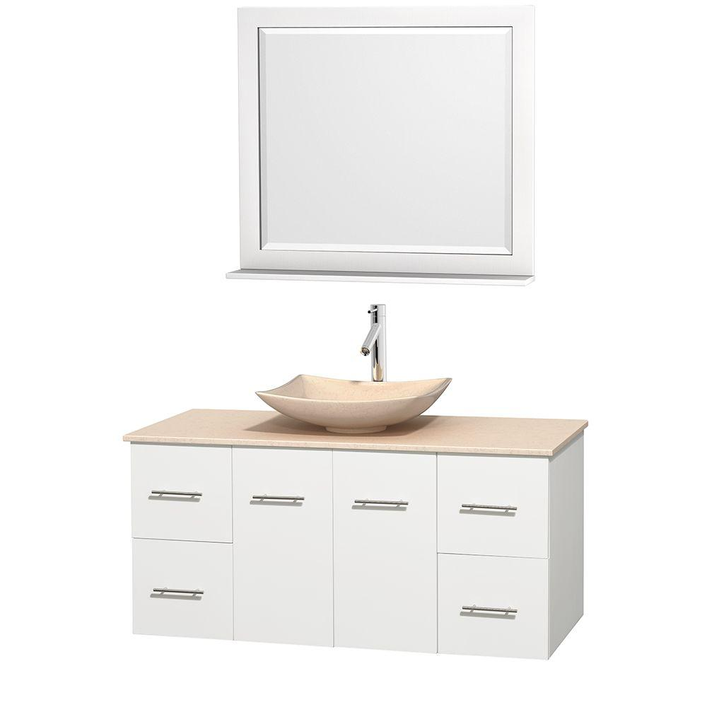 Wyndham Collection Centra 48 in. Vanity in White with Marble Vanity Top in Ivory, Marble Sink and 36 in. Mirror