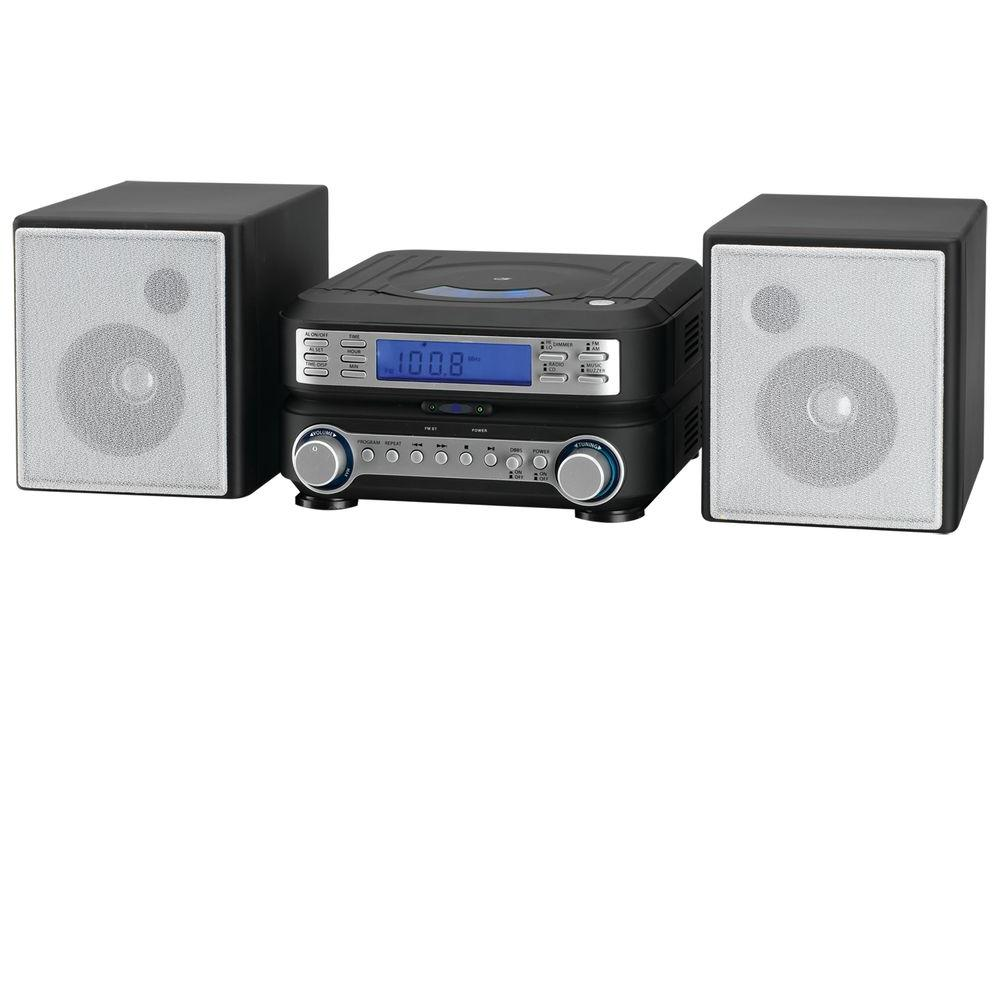 AM/FM CD Home Music System Listen In Style - Listen to CDs, AM/FM radio and plug in your favorite MP3 player. Sleek styling makes this music system perfect for any room. Top-load disc player.