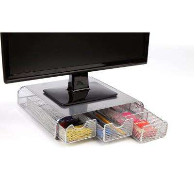 'Perch'  PC, Laptop, IMAC Monitor Stand and Desk Organizer, Silver Metal Mesh