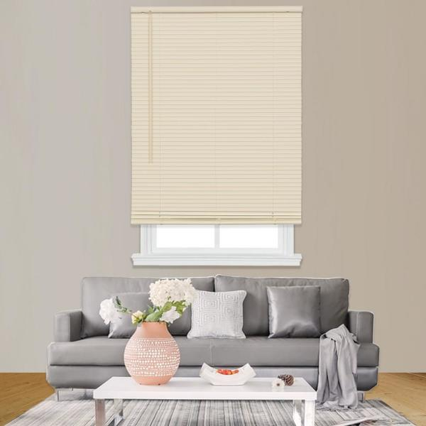 Home Basics Ivory Cordless 1 In Room Darkening Vinyl Mini Blind With White Backside 22 1 2 In W X 64 In L Ccddx2464 22 5 The Home Depot