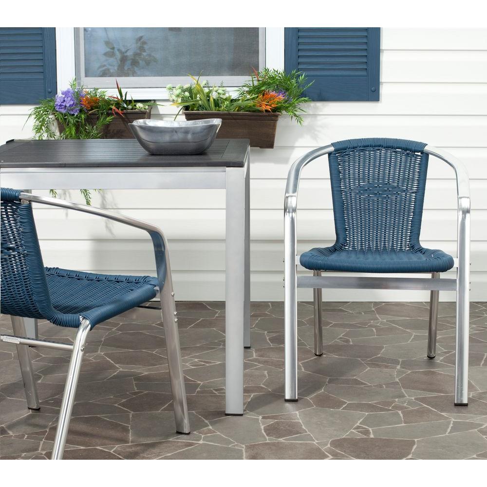 Wrangell Teal Indoor-Outdoor Patio Stacking Armchair (Set of 2)