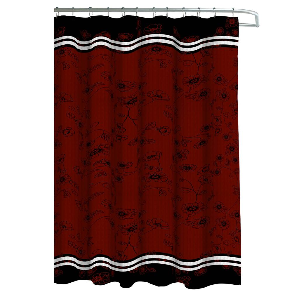 Oxford Weave Textured 70 In W X 72 L Shower Curtain With Metal Roller Hooks Kalista Black Barn