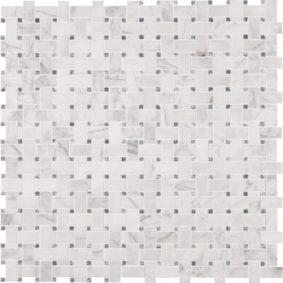 Calacatta Cressa Basket Weave 12 in. x 12 in. x 10 mm Honed Marble Mesh-Mounted Mosaic Tile (10 sq. ft. / case)