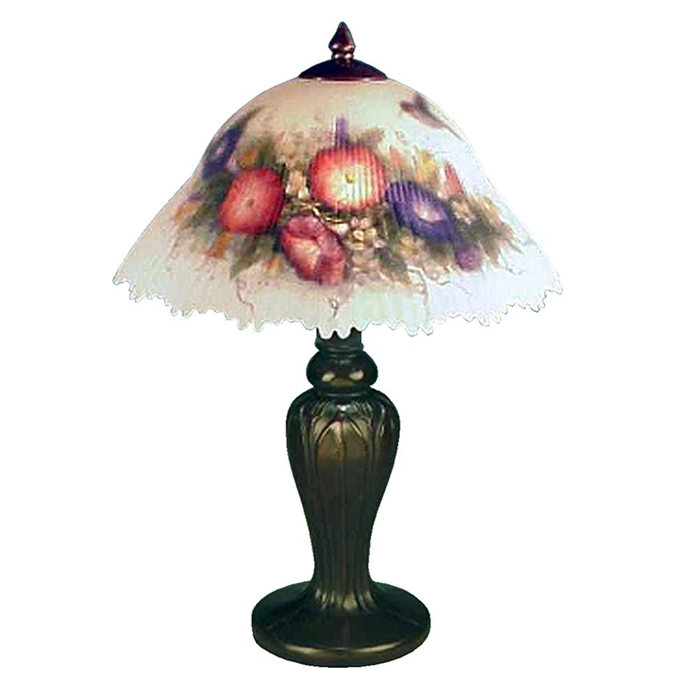 19 in Hummingbird Antique Bronze Finish Table Lamp with Hand-Painted Glass