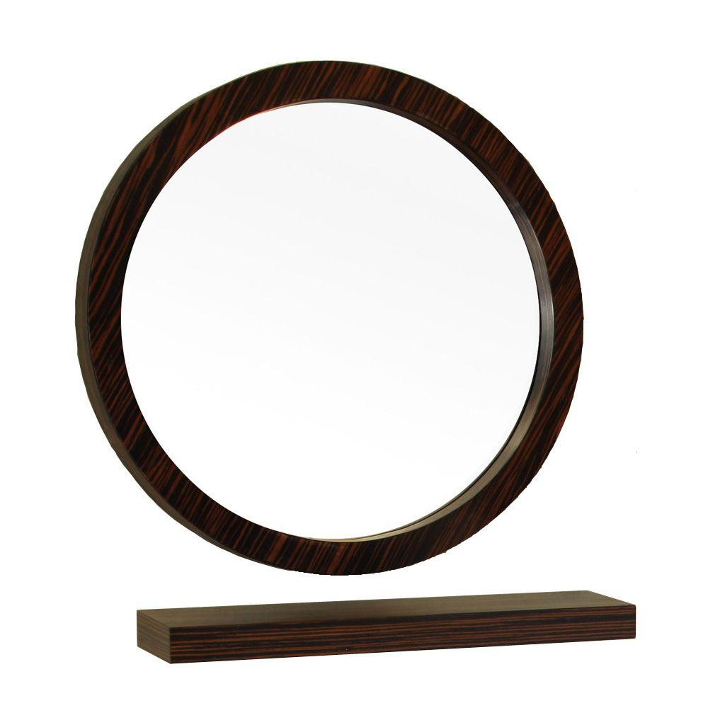 Bellaterra Home Indianola 22 In W X 22 In H Framed Circle Bathroom Vanity Mirror In Brown 804338 Mirror The Home Depot