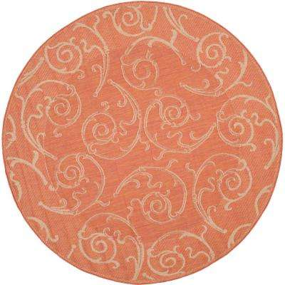 Courtyard Terracotta/Natural 8 ft. x 8 ft. Indoor/Outdoor Round Area Rug