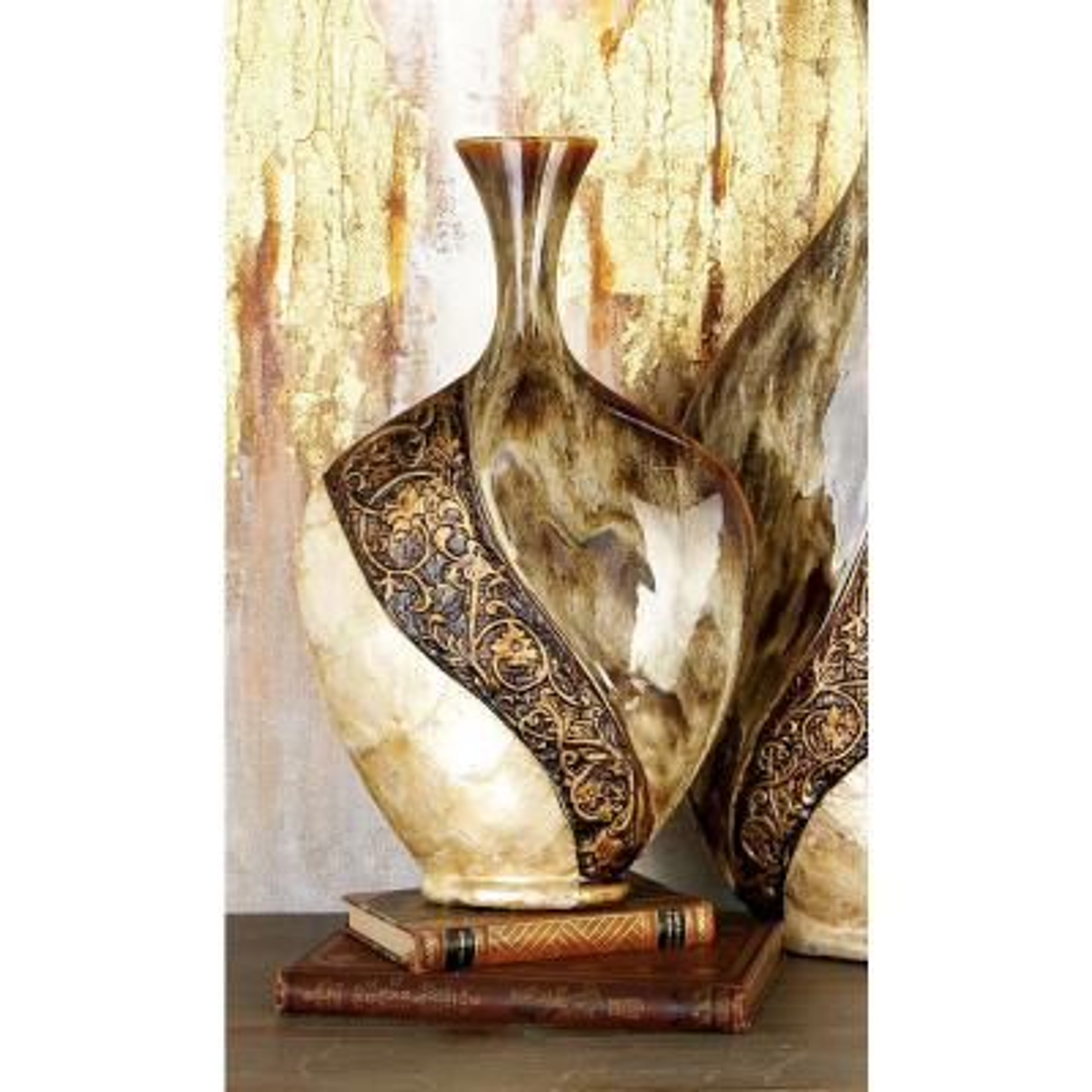 18 in. Mediterranean Brown and Gold Ceramic and Capiz Decorative Vase