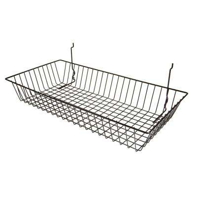 24 in. W x 12 in. D x 4 in. H Black Shallow Basket