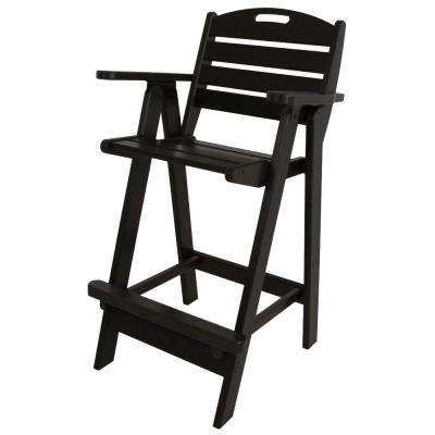 Nautical Black Plastic Outdoor Patio Bar Chair