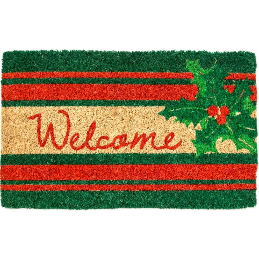 Welcome Holly 18 in. x 30 in. Coir Door Mat