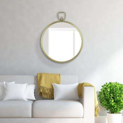 Decorative Handle Round Gold Decorative Mirror