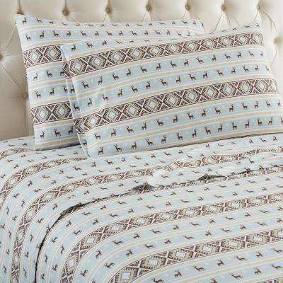 4-Piece Reindeer Stripe King Polyester Sheet Set