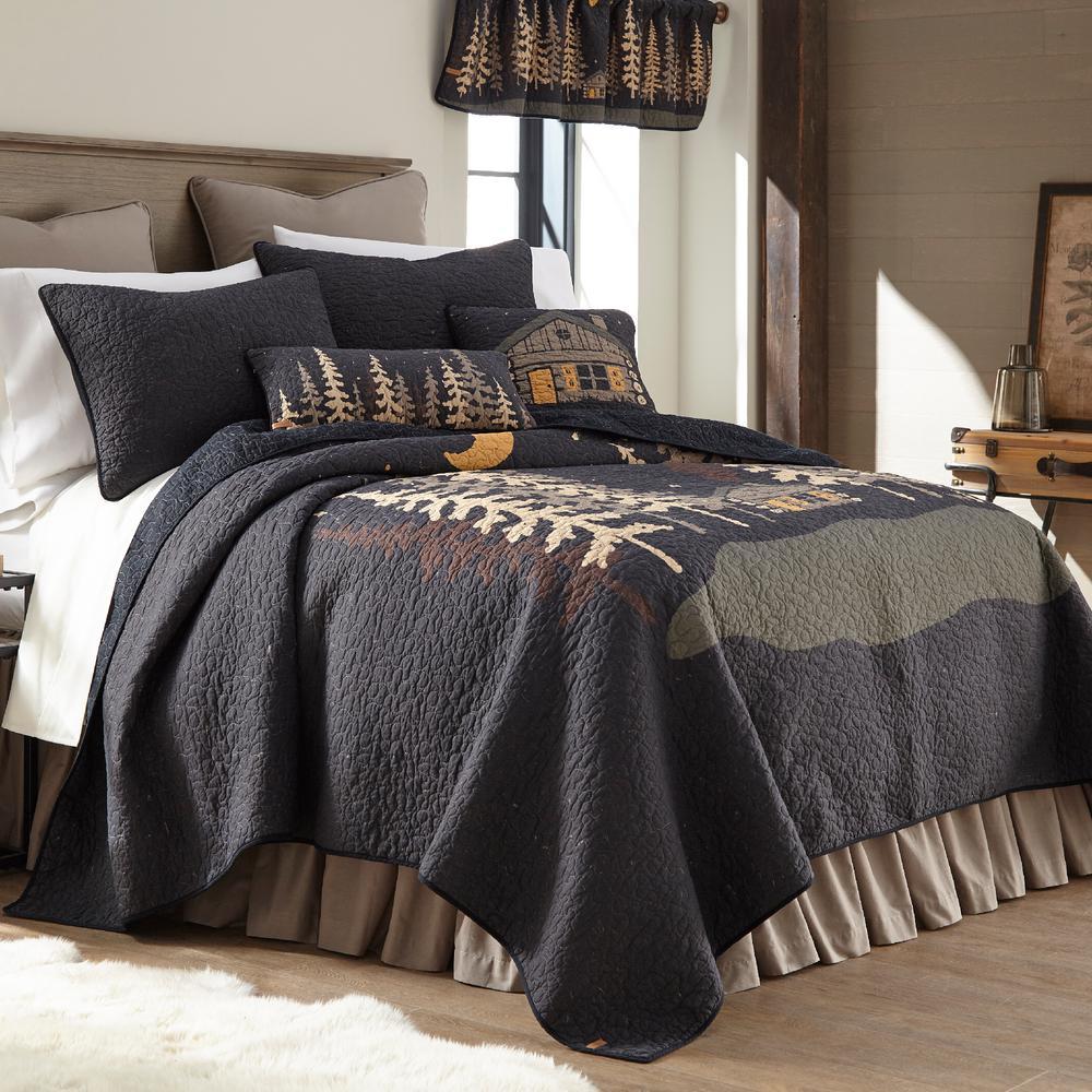 Moonlit Cabin 3-Piece Graphic King Cotton Quilt Set
