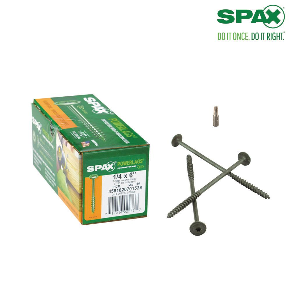 SPAX 1/4 in. x 6 in. T-Star Drive Washer Head High Corrosion Resistance Coated PowerLag Screw Contractor Pax (50-Box)