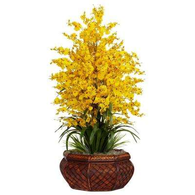 36 in. H Yellow Large Dancing Lady with Round Vase Silk Arrangement
