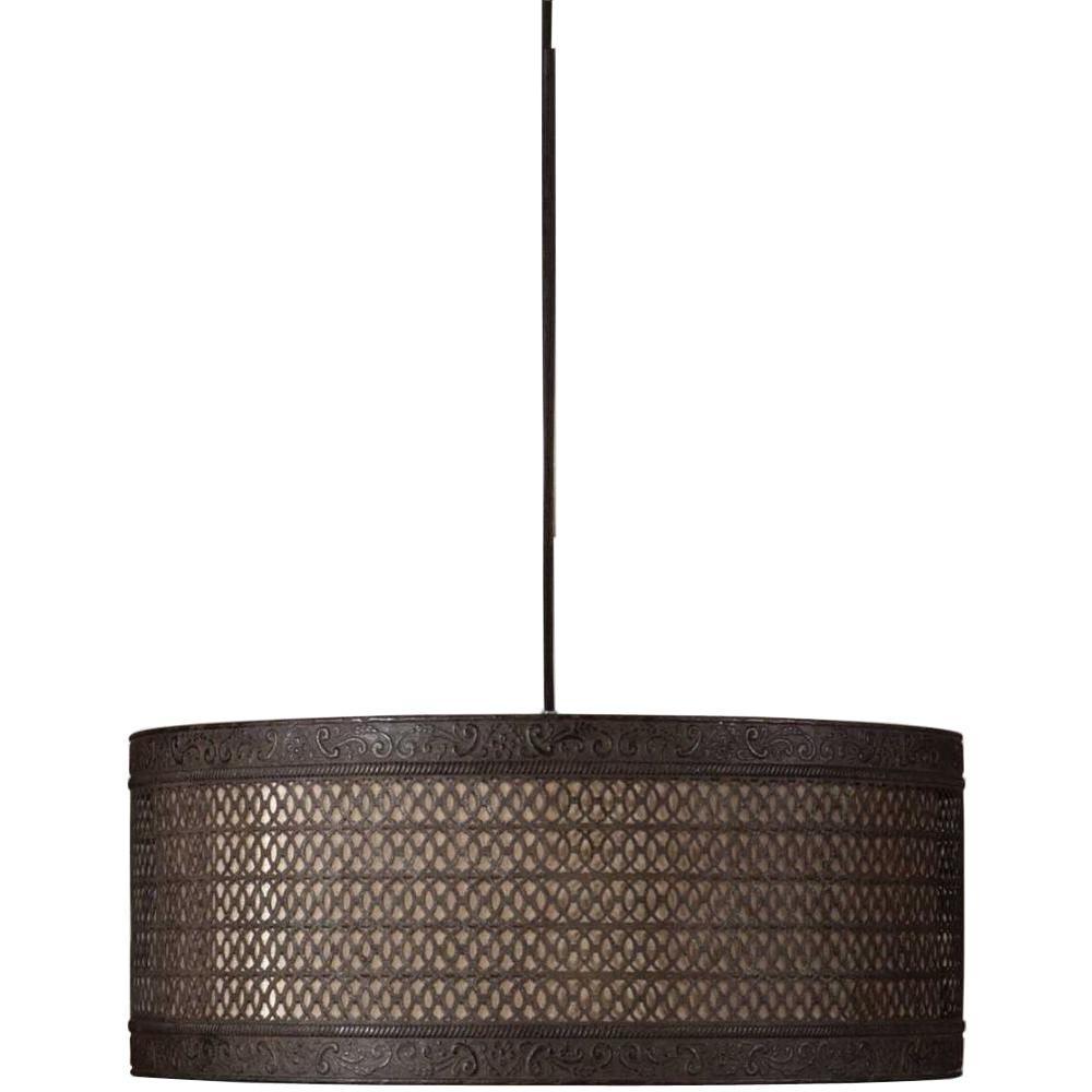 Global Direct 3 Light Black Drum Pendant 21891 The Home Depot