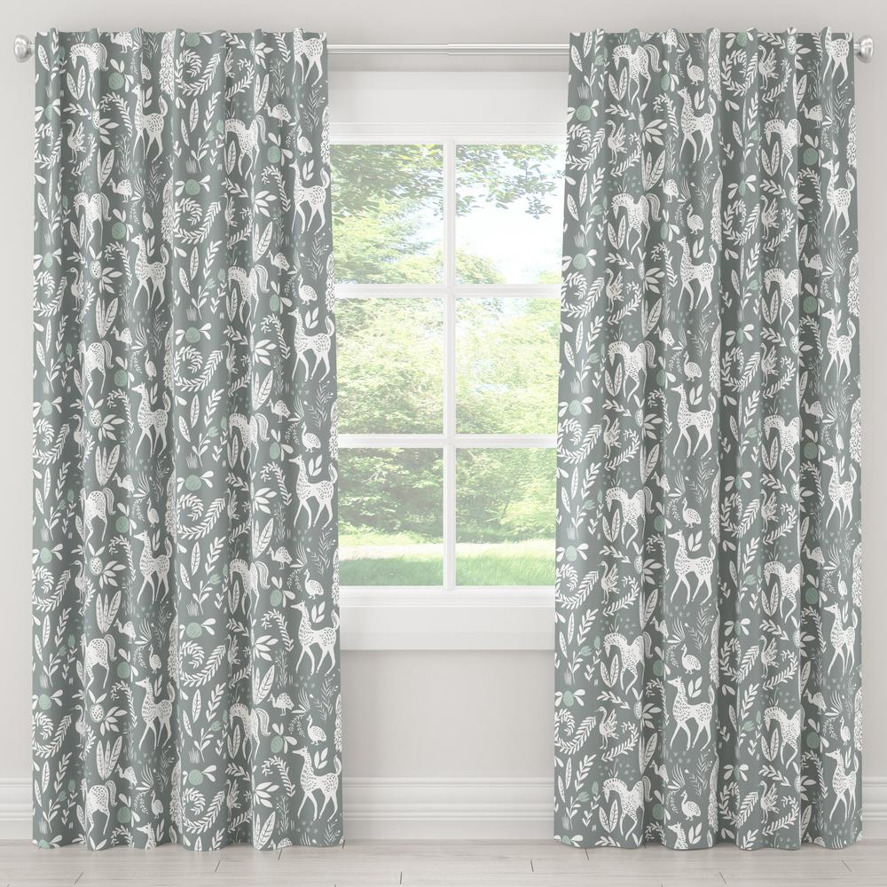 Skyline Furniture 50 in. W x 63 in. L Blackout Curtain in Hatfield Fauna Grey Ground Mint