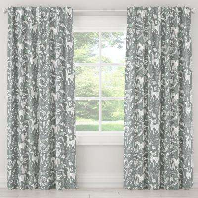 50 in. W x 120 in. L Blackout Curtain in Hatfield Fauna Grey Ground Mint