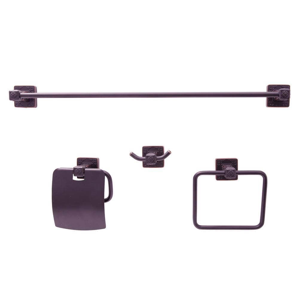 Dyconn reno series euro 4 piece bath hardware set in oil Oil rubbed bronze bathroom hardware