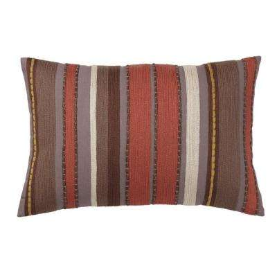 Embroidered Decorative Pillow Cover in Gold Stripe, 16 in. x 24 in.