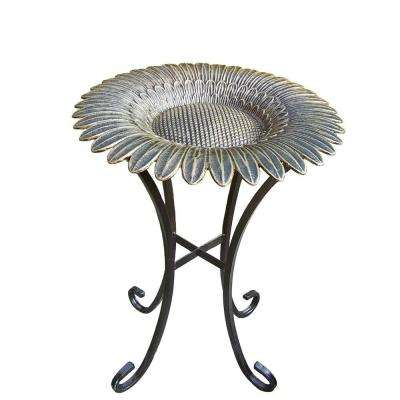 Antique Bronze Sunflower Birdbath