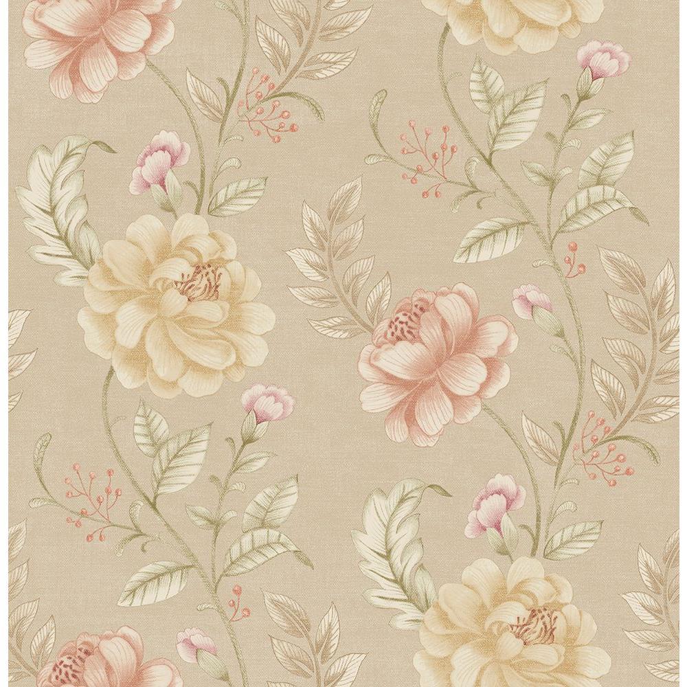 Ellie Beige Floral Wallpaper Sample