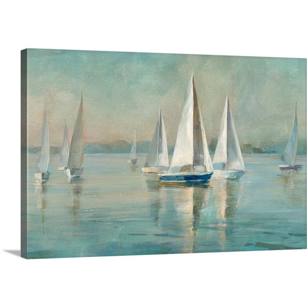 Canvas Wall Art Print Picture Contemporary Sailboats Sun Rise Yellow Orange