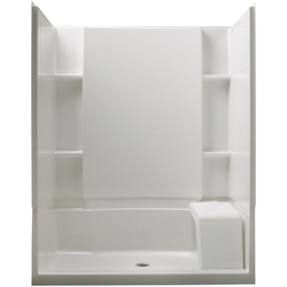 Accord 36 in. x 60 in. x 74-1/2 in. Standard Fit Shower Kit with Seat in White