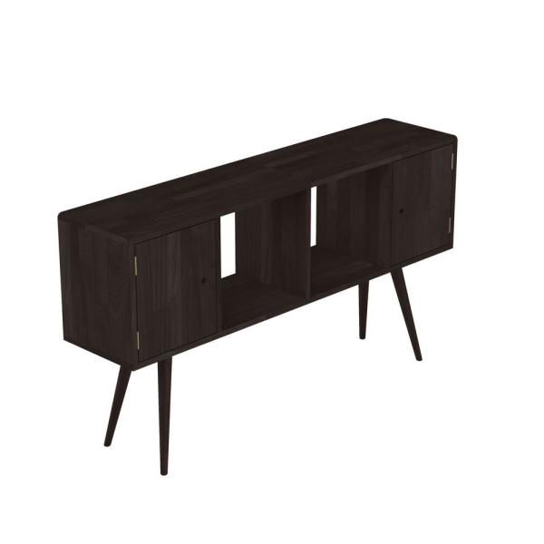 Freemont Dark Espresso Mid Century Modern Solid Wood Console Accent Cabinet with 2-Doors