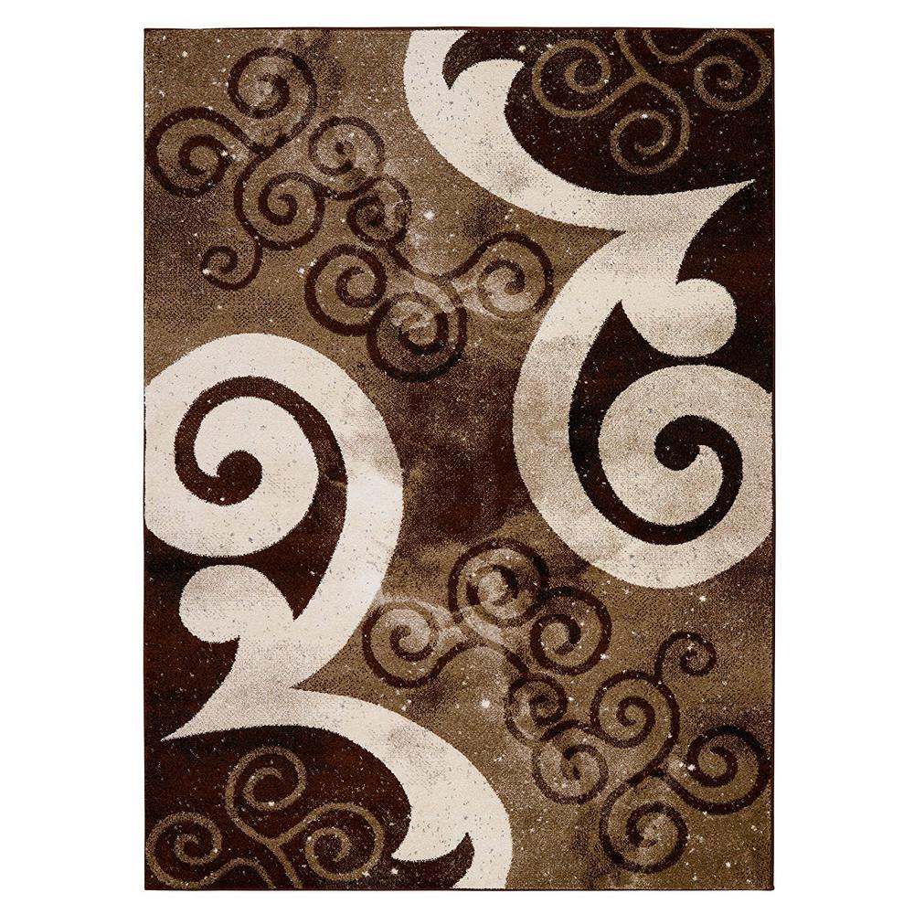 City Collection Contemporary Abstract Swirls Chocolate Brown Beige 5 Ft X 7 Indoor