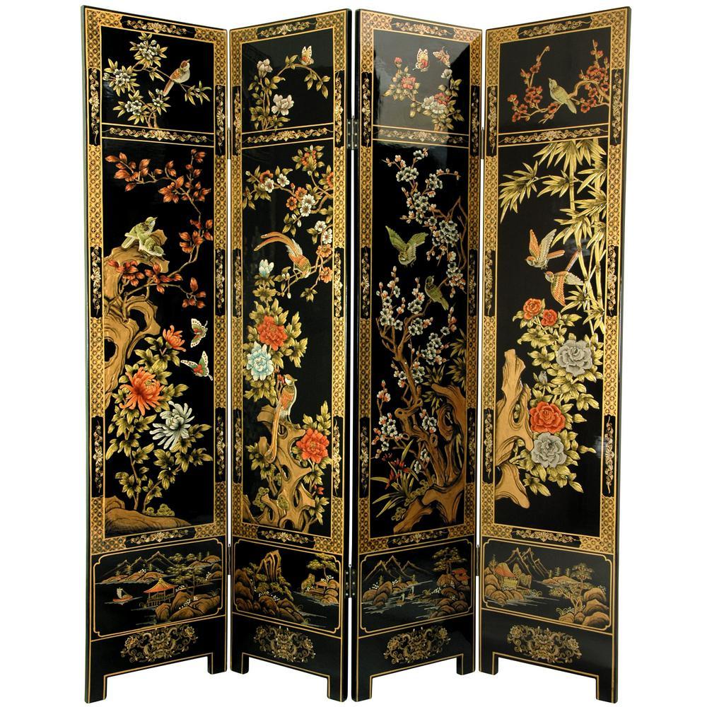 Oriental Furniture 6 Ft Black 4 Panel Four Seasons Room Divider Lcq