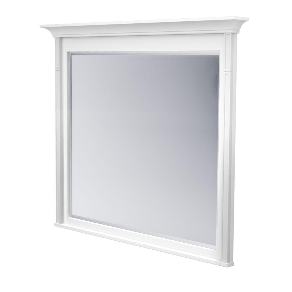 KraftMaid 42 in. L x 48 in. W Framed Wall Mirror in Dove White