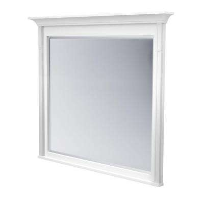 42 in. L x 48 in. W Framed Wall Mirror in Dove White