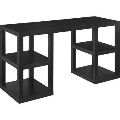 Nelson Dark Black Oak Computer Desk with Shelves