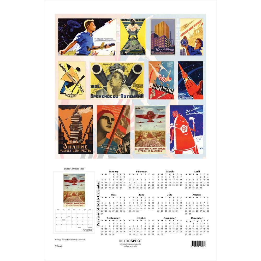 19 in. x 12.5 in. Vintage Soviet Posters - 2019 Calendar