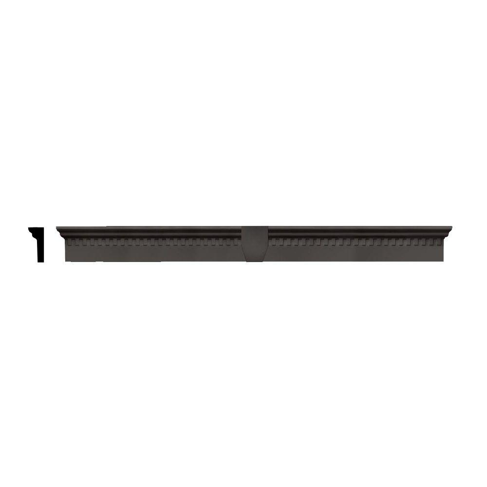 Builders Edge 2-5/8 in. x 6 in. x 65-5/8 in. Composite Classic Dentil Window Header with Keystone in 018 Tuxedo Gray