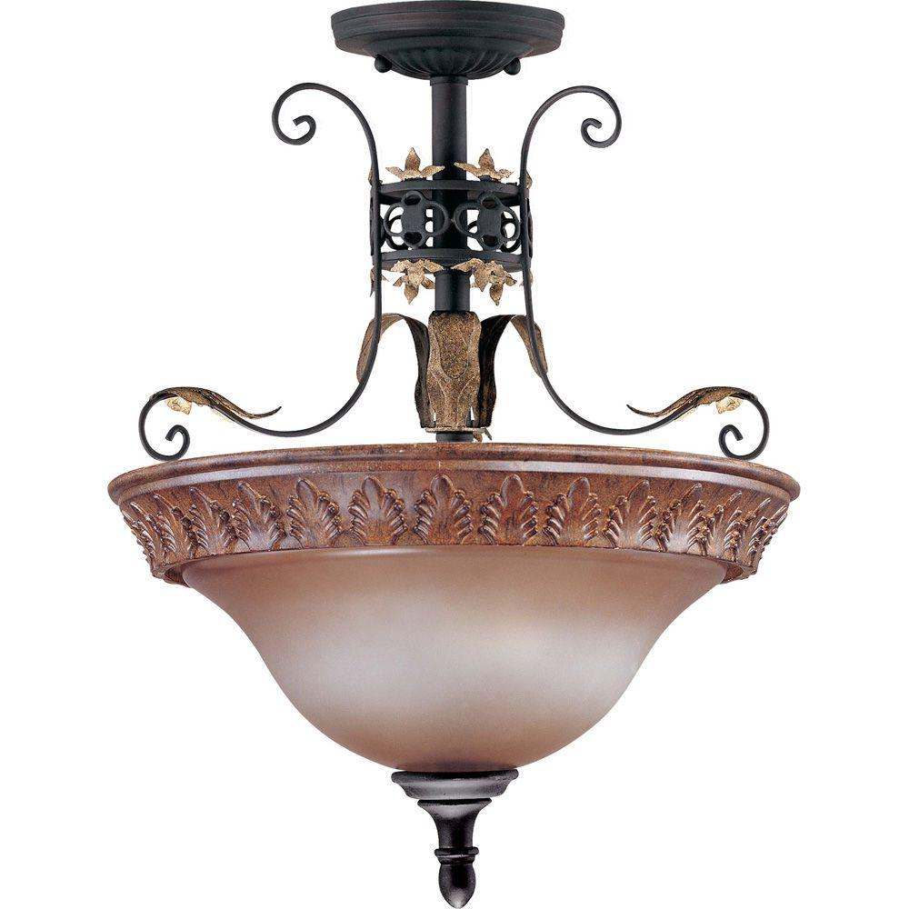 Glomar Verdone Gilded Cage 2 Light Semi Flush Dome With Amber Bisque Glass-DISCONTINUED