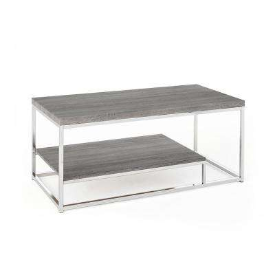 Lucia Dark Brown Cocktail Table with Nickel Base