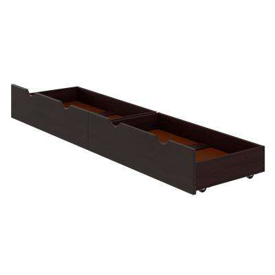 Alaterre 37 in. W x 9 in. H Espresso Under Bed Storage Drawers (Set of 2)