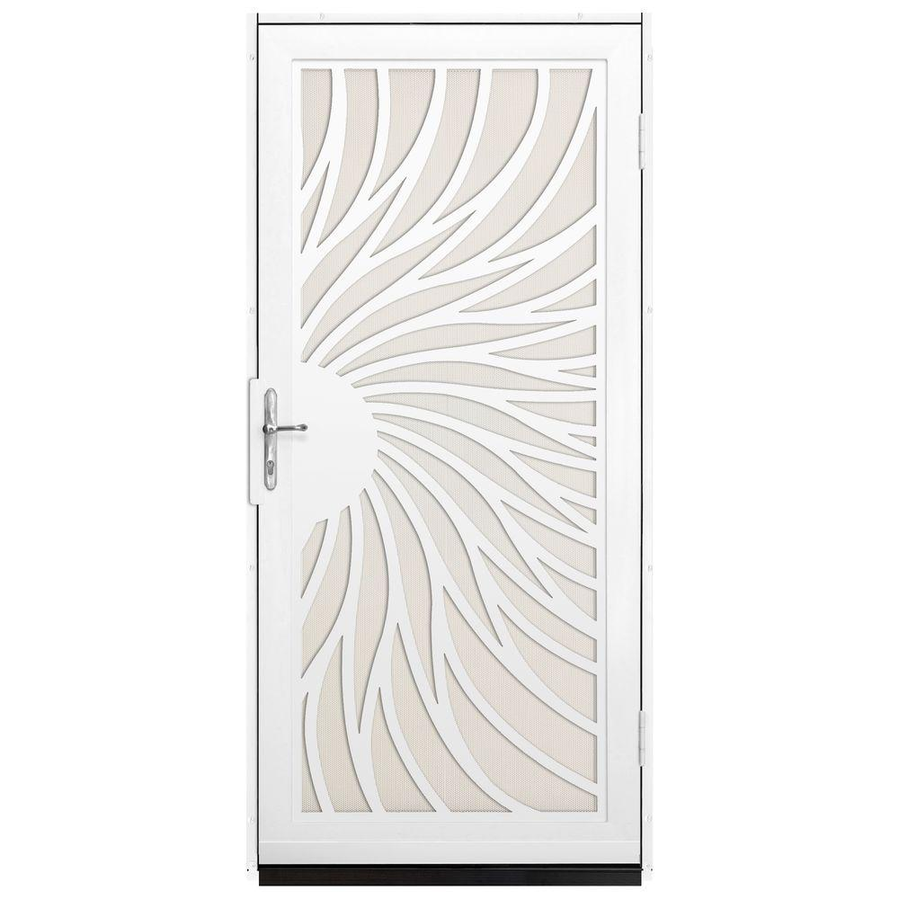 Unique Home Designs 36 in. x 80 in. Solstice White Surface Mount Steel Security Door with Almond Perforated Screen and Nickel Hardware