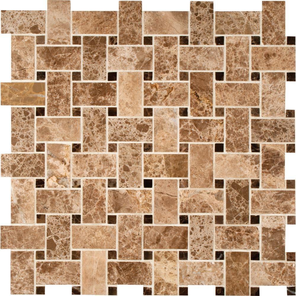 Basketweave mosaic tile tile the home depot emperador light basketweave 12 in x 12 in x 10 mm polished marble mesh dailygadgetfo Images