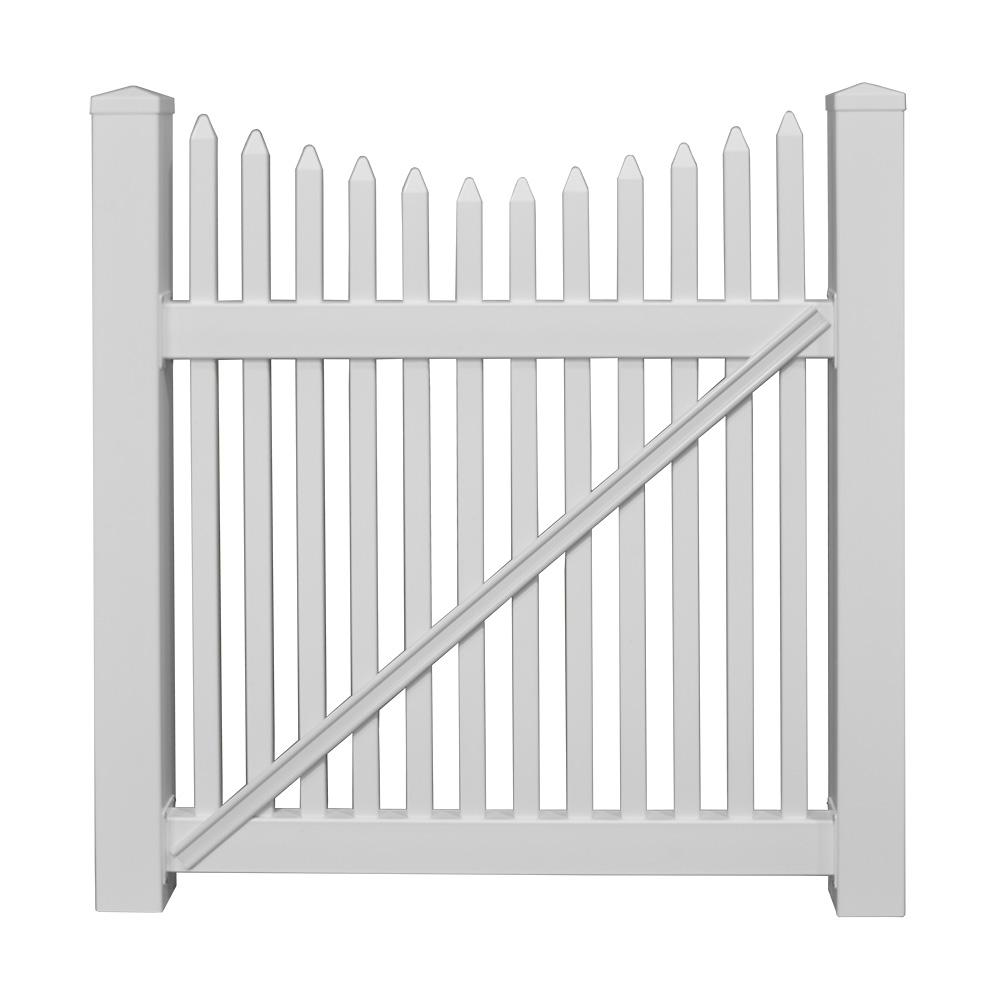 Barrington 4 ft. W x 5 ft. H White Vinyl Picket
