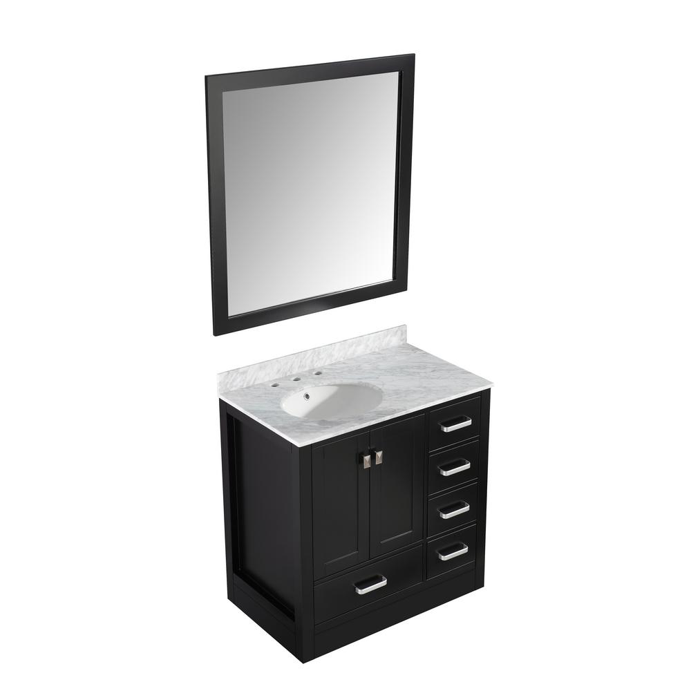 ANZZI Chateau 36 in. W x 35 in. H Skirted Bath Vanity in Black with Vanity Top in Carrara White with White Basin and Mirror