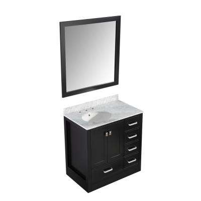 Chateau 36 in. W x 35 in. H Skirted Bath Vanity in Black with Vanity Top in Carrara White with White Basin and Mirror