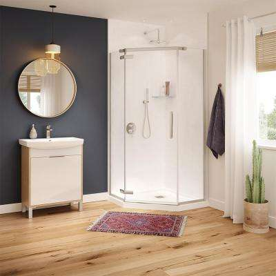 Hana 38 in. x 38 in. x 75 in. Frameless Neo-Angle Pivot Shower Door in Brushed Nickel