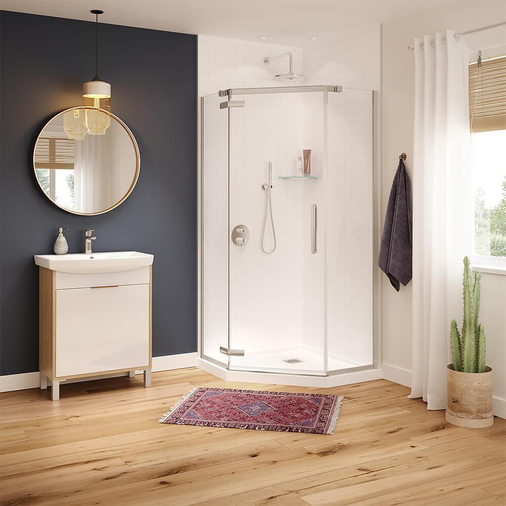 Hana 40 in. x 40 in. x 75 in. Frameless Neo-Angle Pivot Shower Door in Brushed Nickel
