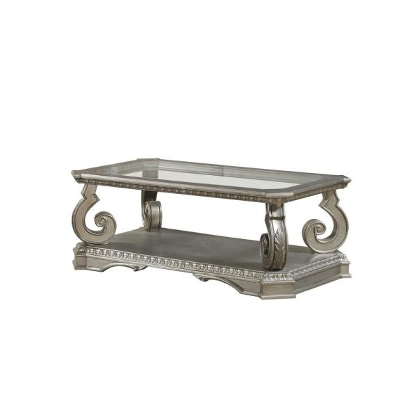 Amelia 20 in. Antique Champagne Clear Glass Wood Poly-Resin Coffee Table