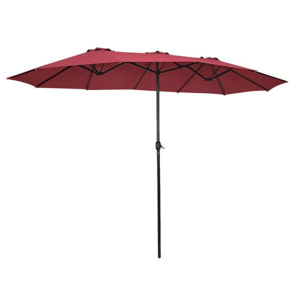 Outdoor 15 ft. Steel Market Patio Umbrella Double-Sided Twin Patio Umbrella in Wine Red with Crank